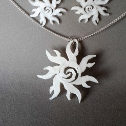 STL Sun earring and pendant, catf3d