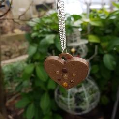 3d printer model  Pendant and earring heart box, catf3d
