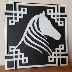 Fichier imprimante 3D tableau cheval, catf3d
