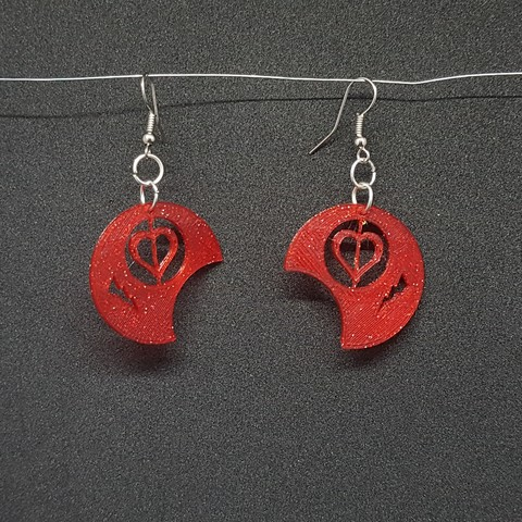 20180821_164012.jpg Download free STL file earring round heart • 3D printing template, catf3d