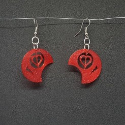 Download free 3D printer model earring round heart, catf3d