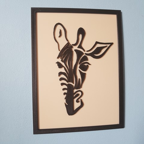objet 3d cadre mi-girafe mi-zébre, catf3d