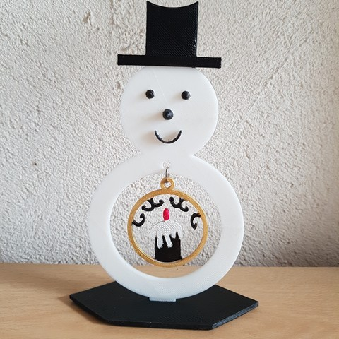 Download 3D printing designs snowman and his Christmas ball, catf3d