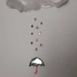 3d model Umbrella and its small drops of water, catf3d