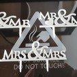 "3D printer files decoration cake ""mr & mrs"", ""mr & mr"" and ""mrs & mrs"", catf3d"
