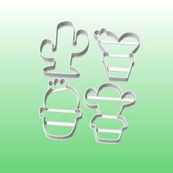 cactus x4.jpg Download STL file cookie cutters cactus cookies x4 • Model to 3D print, PatricioVazquez
