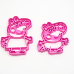 3d model peppa pig x2 george cookie cutter cookie cutting biscuits, PatricioVazquez