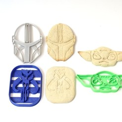 Descargar STL cookie cutter cortante galletitas mandalorian kit 3 modelos , PatricioVazquez