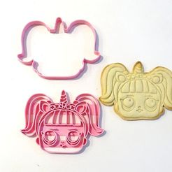 STL files lol surprise 2 unicorn cookie cutter 2 pieces, PatricioVazquez