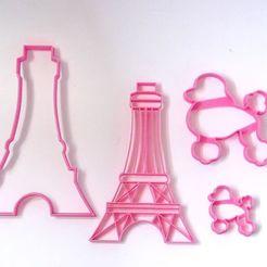Descargar modelos 3D cookie cutters cortantes galletas france pack french poodle torre eiffel, PatricioVazquez