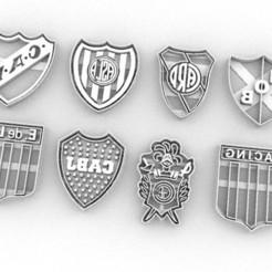 escudos futbol.jpg Download STL file cookie cutters cutters shields soccer argentina • 3D print template, PatricioVazquez