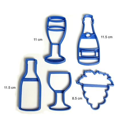 3D print model cookie cutter wine bottle wine bottle champagne glass cutting biscuits, PatricioVazquez