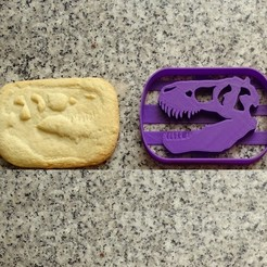 3d printer files dinosaurs dinosaur cookie cutters t-rex skull, PatricioVazquez