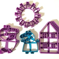 Descargar STL cortante galletitas cookie cutter peppa mom and dad pack, PatricioVazquez