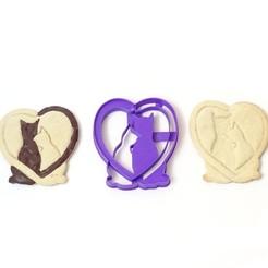 Télécharger fichier imprimante 3D les chats à l'emporte-pièce aiment les chats amoureux le jour de la Saint-Valentin, PatricioVazquez