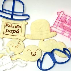 Download 3D printing templates cookie cutters father's day cookies PACK 6 models, PatricioVazquez