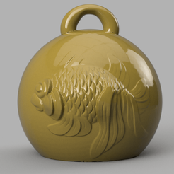 poisson 3 .png Download STL file christmas ball fish • 3D print object, motek