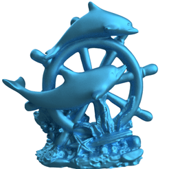dauphin roue bateau clair 1.png Download STL file Dolphin wheel boat • 3D printing object, motek