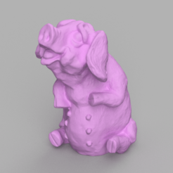 cochon assis rendu 2 .png Download STL file Sitting Pig • 3D printable object, Motek3D
