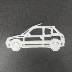Free 3D printer files Peugeot 205 keychain, Motek3D
