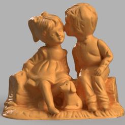 garçon et fille sur un tronc rendu 5.png Télécharger fichier STL garçon et fille amoureux • Objet pour impression 3D, Motek3D