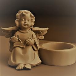 ange bougeoir rendu 1 .png Download STL file Candleholder angel christmas • 3D printable object, Motek3D