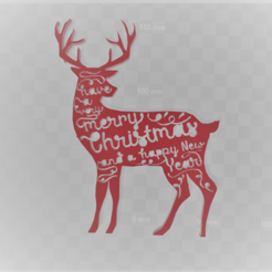 Download free 3D printer templates merry christmas deer, Motek3D