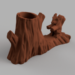 ecureuil bois porte stylo 4.png Download STL file Squirrel tree pen holder • Model to 3D print, motek