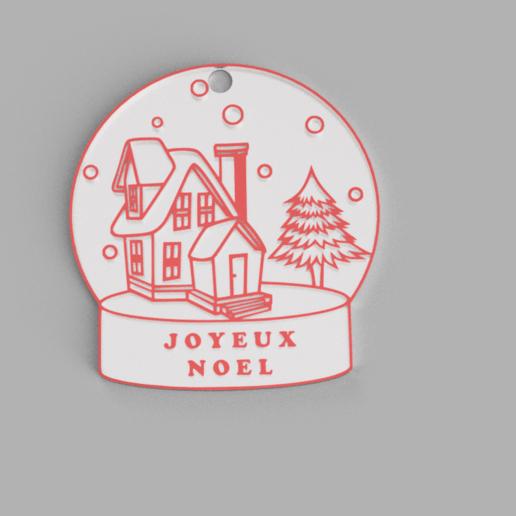 boule de neige joyeux noel fr v1.png Download free STL file Snowball ornament • Template to 3D print, Motek3D