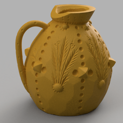 amphore a fleur rendu 2.png Download STL file Vase with floral motif • 3D printing model, Motek3D