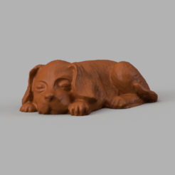 petit fien rendu 4 .png Download STL file Lying dog • 3D printer model, Motek3D