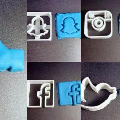 multi.png Download STL file Social Cookies cutter pack • Template to 3D print, motek