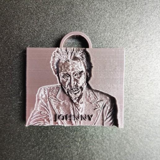 Download free 3D printing templates Johnny Hallyday keychain, Motek3D