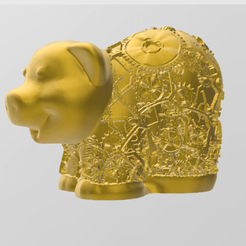 cohon steam punk.png Download STL file Steam punk pig • 3D printer object, Motek3D