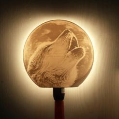 3D print files wolf lamp litophane, Motek3D