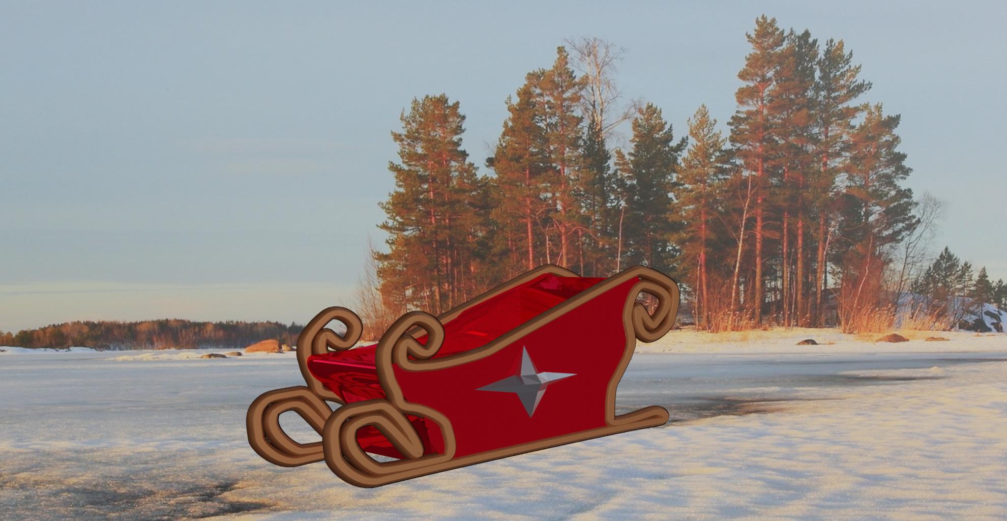 traineauforet .png Download free STL file Santa Sleigh • Object to 3D print, Motek3D