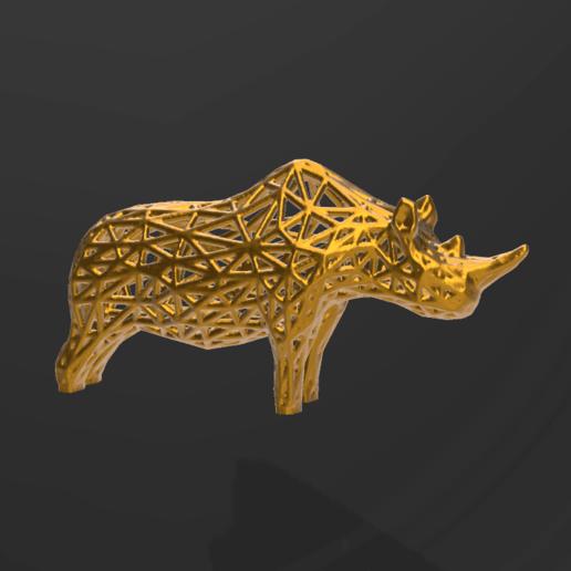 rhino pres2.png Télécharger fichier STL Rhino Voronoï • Design pour imprimante 3D, motek