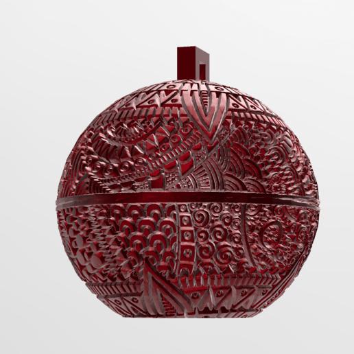 mandala sphere noel 2.png Download free STL file christmas ball 5 • 3D printing model, Motek3D