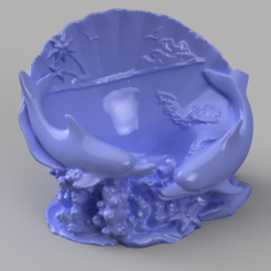 dauphin coquillage rendu 7.png Download STL file Shell Dolphin • Template to 3D print, Motek3D