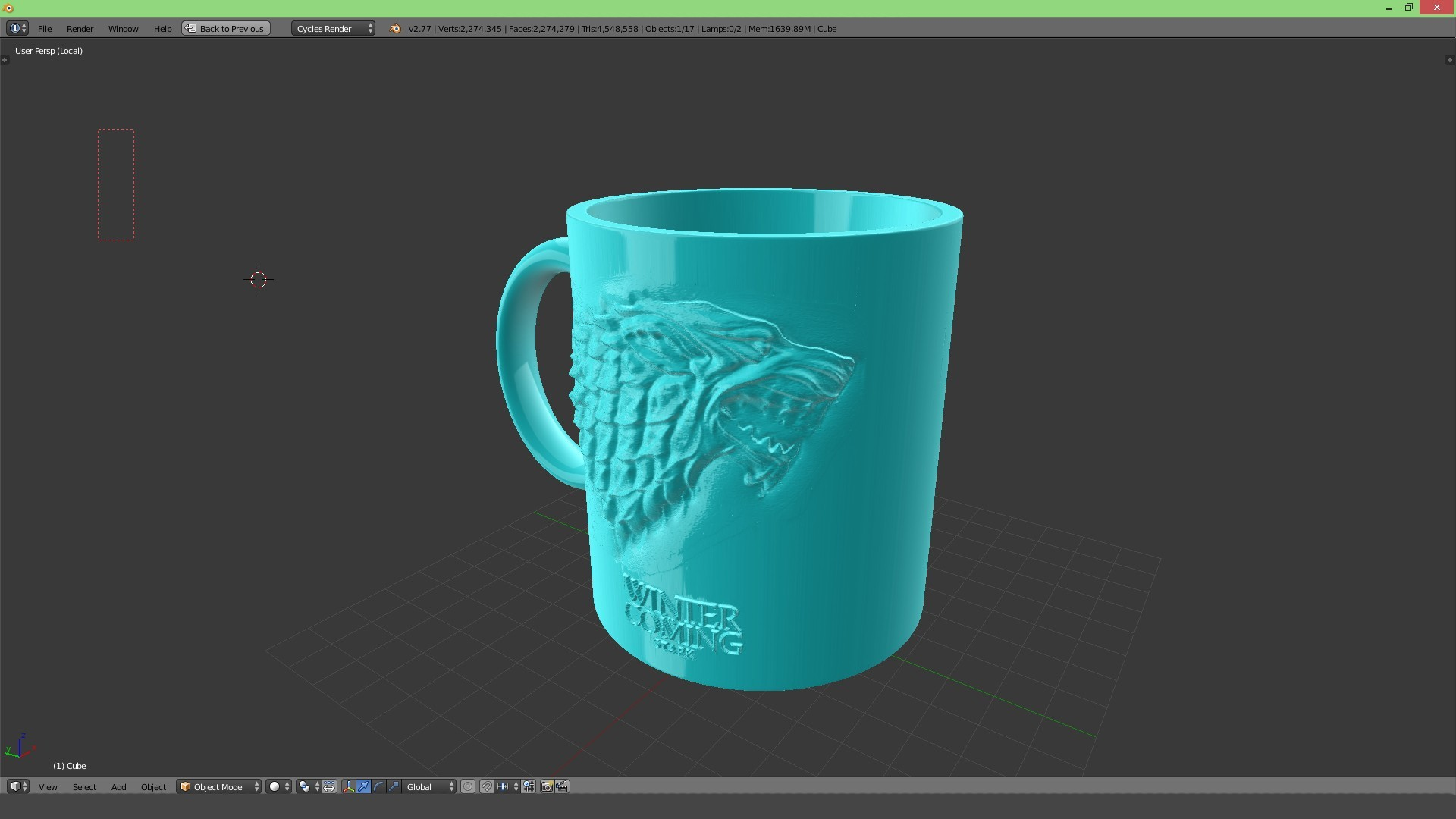 3.3.jpg Download STL file Game Of Thrones Stark Coffee Mug • 3D printer object, SimaDesign