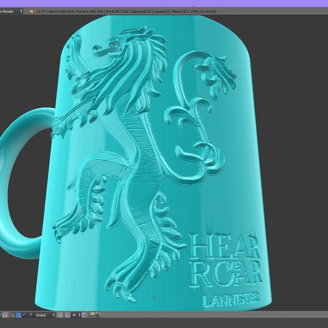 2.3.jpg Download STL file Game Of Thrones Lannister Coffee Mug • 3D printable model, SimaDesign