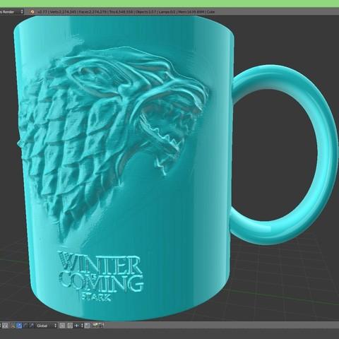 3.4.jpg Download STL file Game Of Thrones Stark Coffee Mug • 3D printer object, SimaDesign