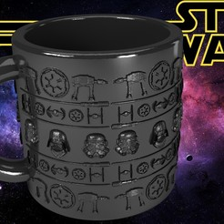 Download 3D printer designs Star Wars Dark Side Mug, SimaDesign