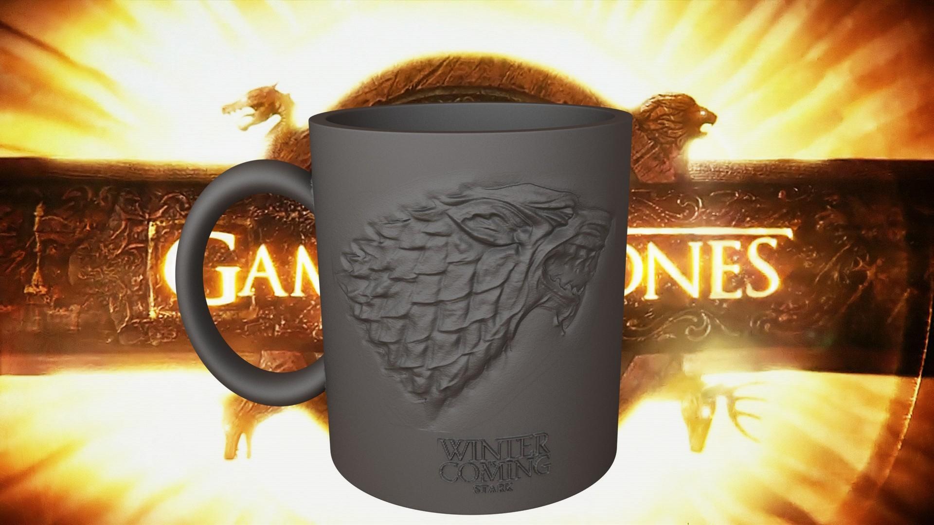 1.2.jpg Download STL file Game Of Thrones Stark Coffee Mug • 3D printer object, SimaDesign