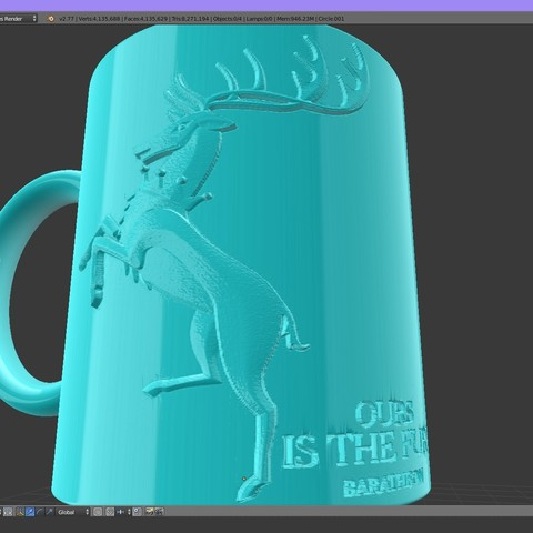 1.1.jpg Download STL file Game Of Thrones Baratheon Coffee Mug • 3D print object, SimaDesign