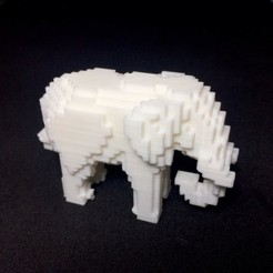 Download free STL files Voxel Elephant, PJ_