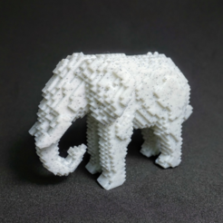 Download free STL files Voxel Elephant V2, PJ_