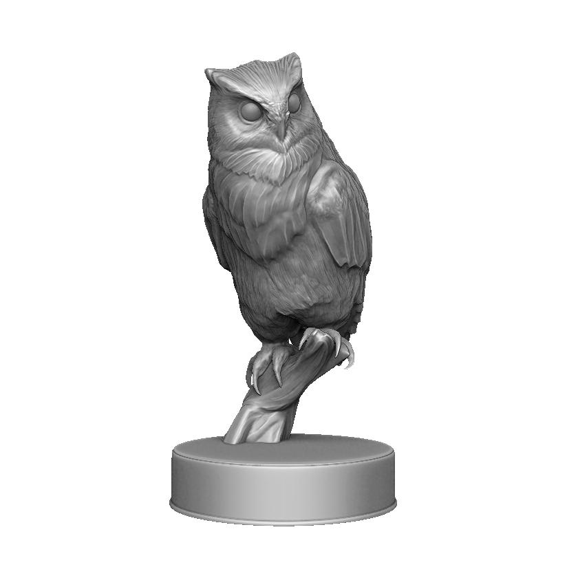 Hibou_render_01.png Download OBJ file Sculpture Owl • 3D print design, Harkyn