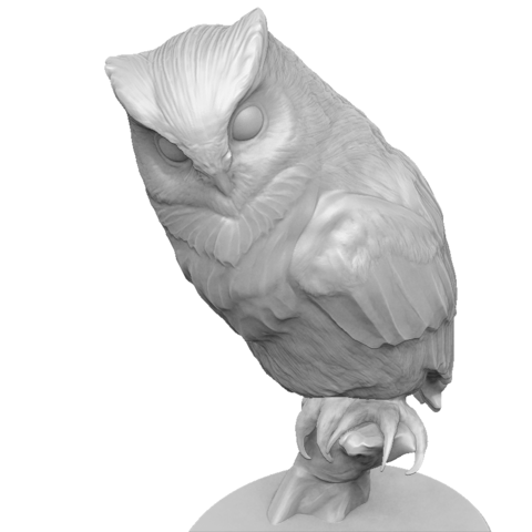 Hibou_render_05.png Download OBJ file Sculpture Owl • 3D print design, Harkyn