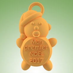 bebe MPN 2017.png Download STL file Baby My first Christmas • 3D print template, 3dgregor
